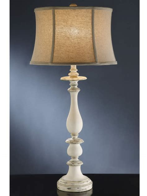 Rustic White Cottage Style Table Lamp Shabby Chic Design