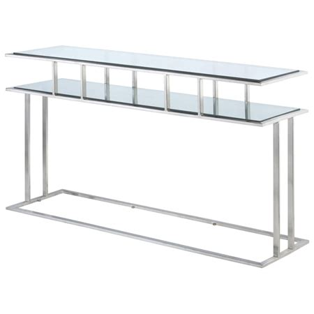stainless steel sofa table mirage console table brushed stainless steel clear