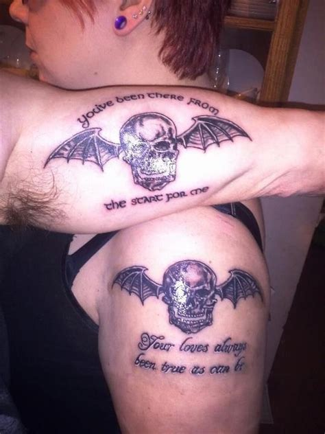 a7x tattoos mine and my husbands deathbat tattoos tatts