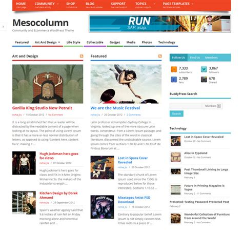 themes wordpress multisite mesocolumn responsive free wordpress theme for community