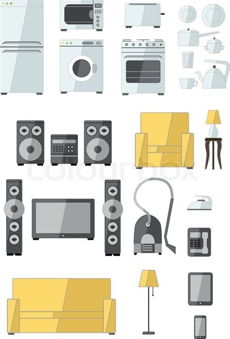 Set of household appliances flat colourful icons with a