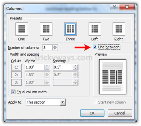 microsoft word change layout to two columns how to adjust width spacing and line between columns in