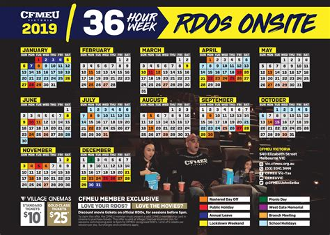 calendar cfmeu victoria tasmania