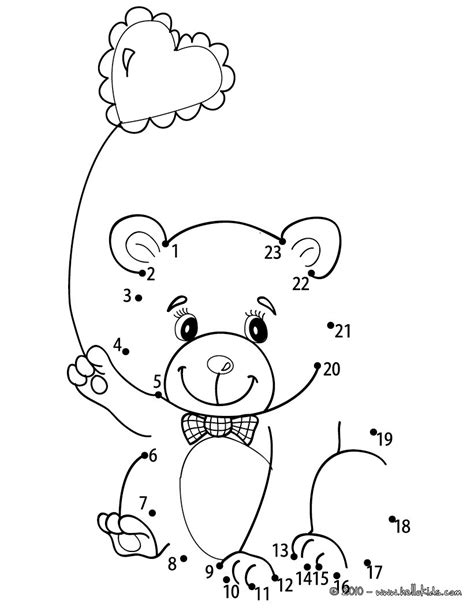 Teddy bear & heart balloon coloring pages - Hellokids.com