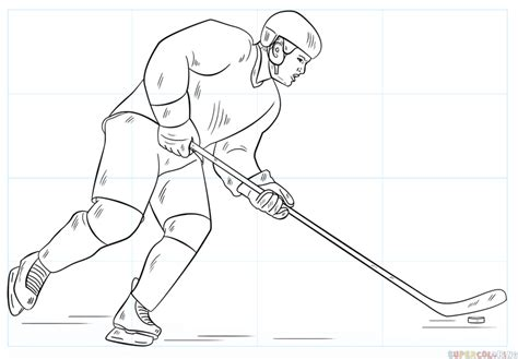 simple hockey coloring pages how to draw a hockey player step by step drawing tutorials