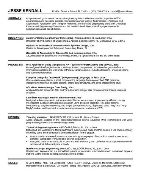 exle technical engineering intern resume sle