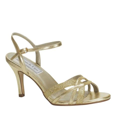 gold sandals high heels wide width low heel strappy gold glitter ankle open