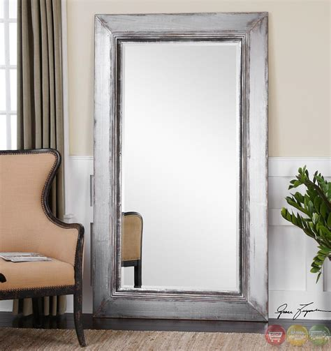 lucanus contemporary heavily distressed aged silver oversized silver mirror 13880