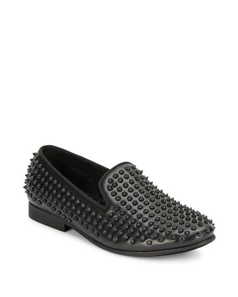 studded loafers steve madden steve madden studded slip on loafers in black for lyst
