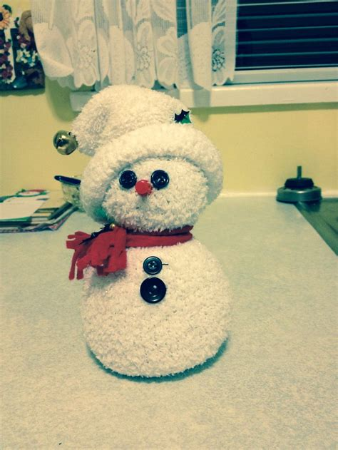 sock snowman craft with rice snowman made from rice and a sock crafts