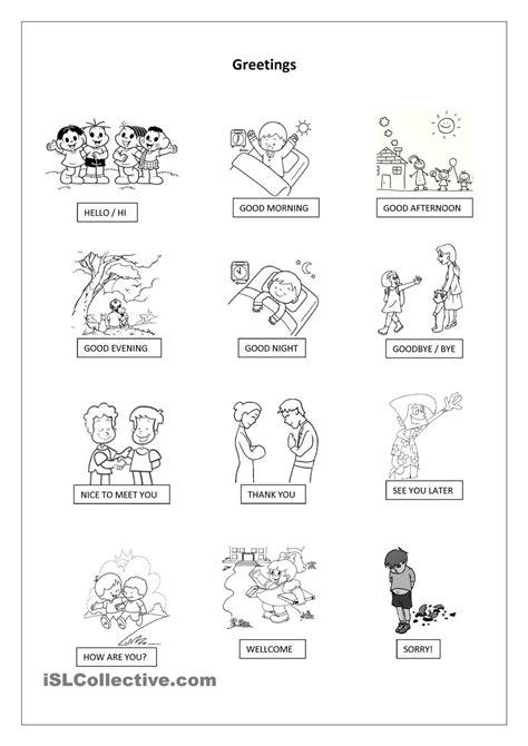 greetings worksheets for best los saludos greetings images on