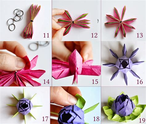 Lotus Flower Origami Tutorial - ka茵莖tla k 252 231 252 k 蝓eyler origami nil 252 fer yap莖m莖 ii origami
