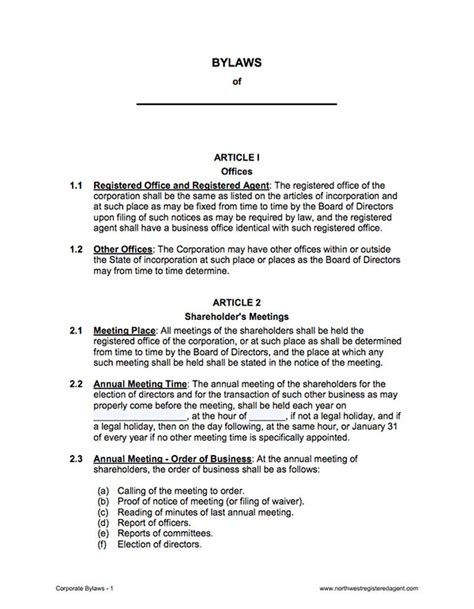 corporate bylaws template free corporation bylaws corporate bylaws template