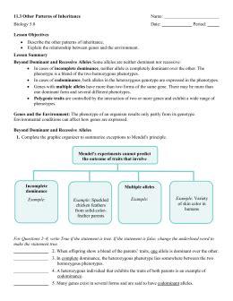 patterns inheritance quiz patterns of inheritance worksheet geersc