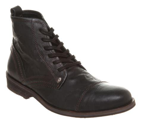 mens firetrap veloce toe cap work boot black leather boots