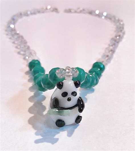 beaded panda teal and panda beaded necklace combination bead