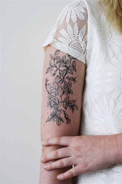 white temporary tattoo large black and white floral temporary tattoos by
