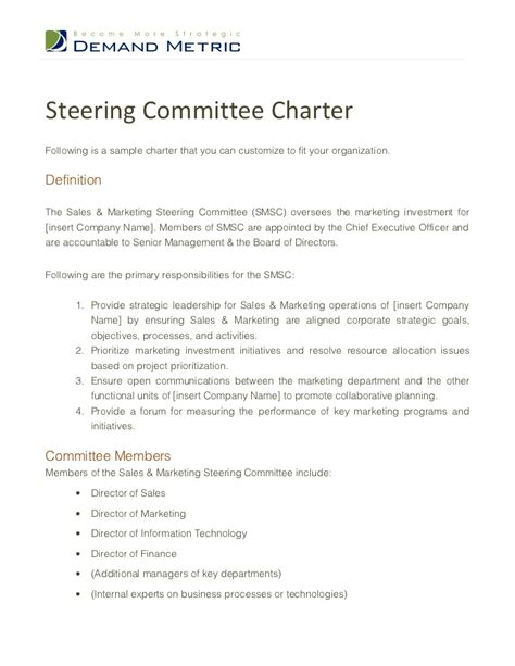Steering Committee Charter Template Steering Committee Presentation Exle