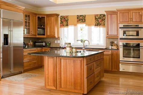 Home Decorating Ideas Kitchen Cabinets Pictures Of Kitchens Traditional Medium Wood Golden