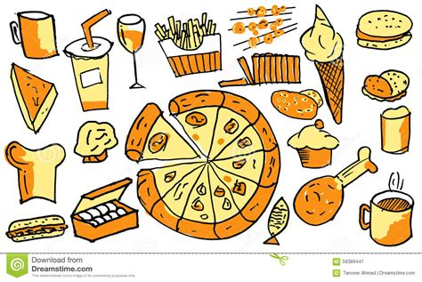 item doodle draw junk food items is drawing at work stock photo image