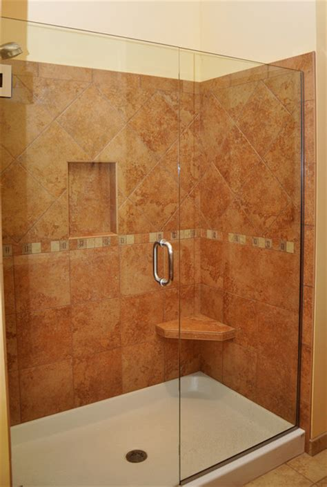 all tile bathroom porcelain shower with seat and shelf traditional