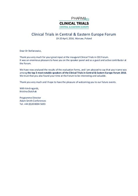 clinical cee forum 2016 dr stefanowicz thank you letter