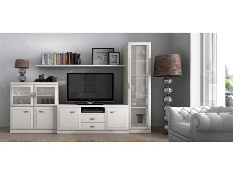 muebles salon modernos blanco mueble de sal 243 n blanco con vitrina