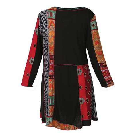 Patchwork Tunic - parsley black with tribal print patchwork tunic top