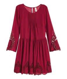 h amp m chiffon dress with lace in red lyst