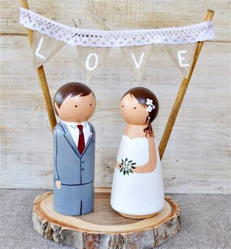 Handmade And Groom Cake Toppers - wooden peg cake topper rustic wedding cake topper custom