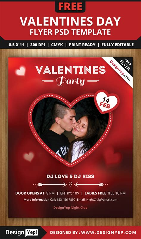 Free Psd Valentines Party Flyer Template Designyep Open Source Flyer Templates