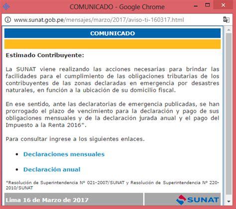 plazo declaracion de renta 2016 218 ltimo minuto sunat prorroga plazos para declarar renta