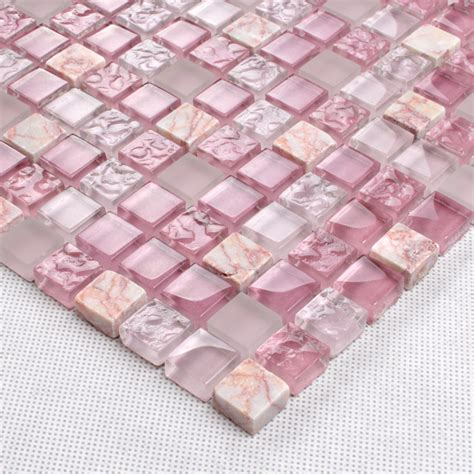 Light purple stone and glass mosaic tile square bathroom wall decor