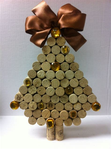 handmade christmas trees made of wine corks