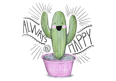 cute succulents cute pink and green succulent illustration character