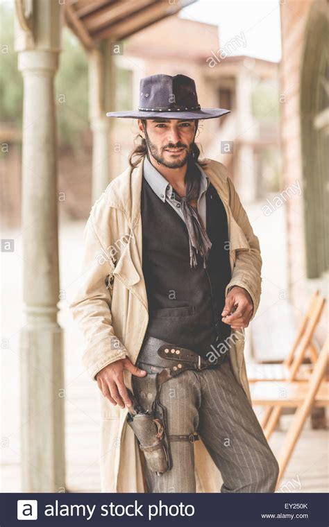 film cowboy my portrait of cowboy on porch on wild west film set fort