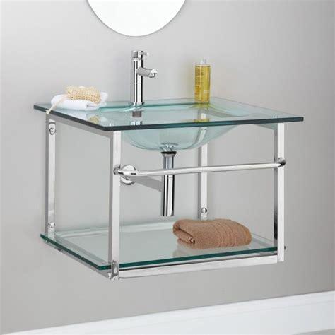wall mount sink with towel bar zuri clear glass wall mount sink with stainless steel
