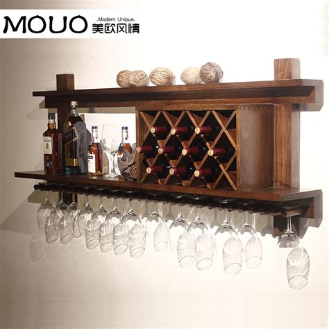 Hanging Bar Glass Rack by Wall Mounted Wood Wine Rack Wine Rack Wine Cooler European Modern Bar Glass Rack Hanging Bar To