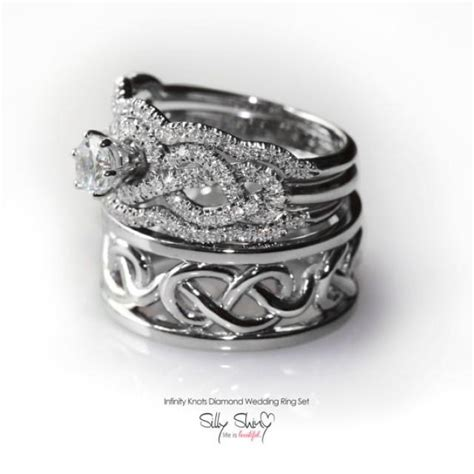 his hers infinity knot wedding rings set includes