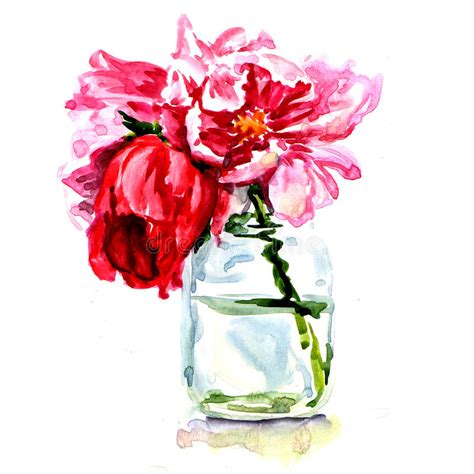 beautiful flowers in vase isolated stock illustration