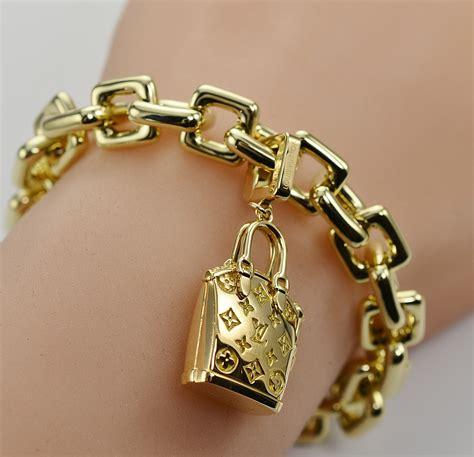 Charm Gold louis vuitton solid 18k gold charm bracelet with purse