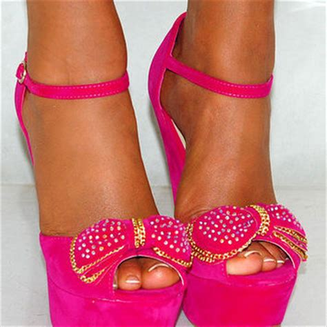 High Heels Wadges Lld 354 suede bow fuchsia bright pink from saffron109 on ebay