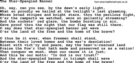 printable version of star spangled banner star spangled banner lyrics printable version the star