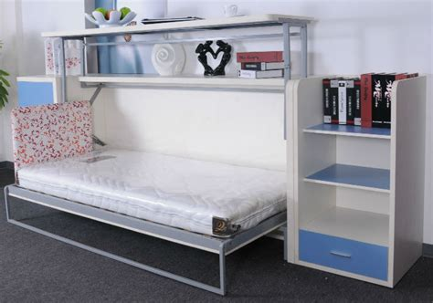 Portable Bookcase Folding Wall Bed Desk Units From Murphysofa Balances Items On The