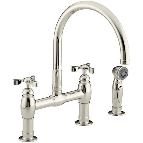 kitchen bridge faucet kohler parq 2 handle bridge kitchen faucet with side sprayer in vibrant polished nickel k 6131 3