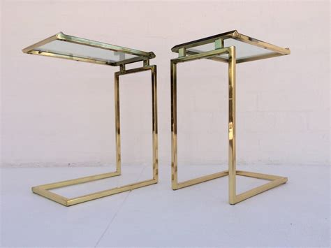 Glass Side Table Pair Of Polished Brass And Glass Side Tables Designed By Milo Baughman At 1stdibs