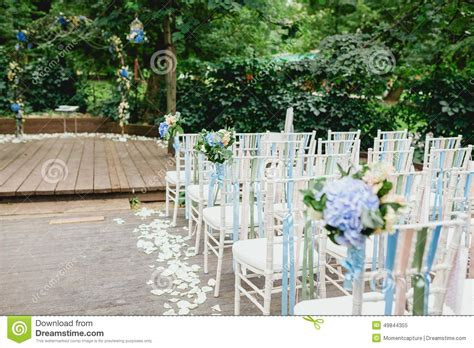chairs for wedding ceremony chairs and arch from wedding ceremony stock photo image
