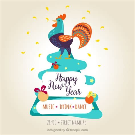 new year greeting posters happy new year poster with a colorful rooster vector