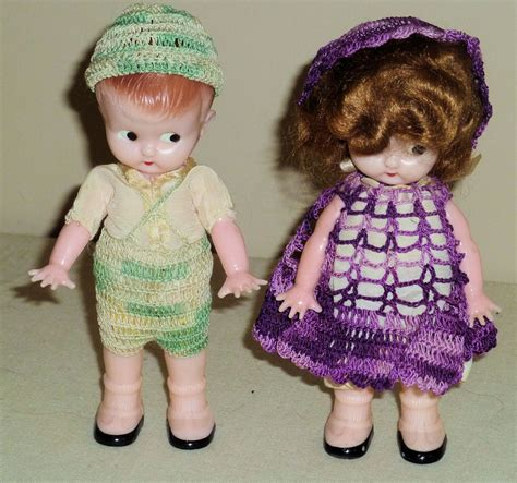 6 inch kewpie doll pair of vintage plastic 6 inch kewpie like dolls with side