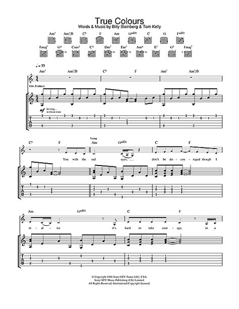 colors chords true colours guitar tab by cassidy guitar tab 29697